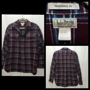 LL Bean Plaid Medium Button Down